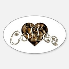 Coffee Bean Heart Oval Decal