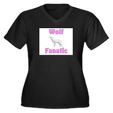 Wolf Fanatic Women's Plus Size V-Neck Dark T-Shirt