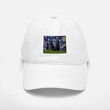 Starry Night / 2 Black Labs Baseball Baseball Cap