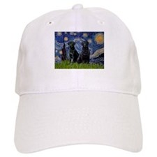 Starry Night / 2 Black Labs Baseball Cap