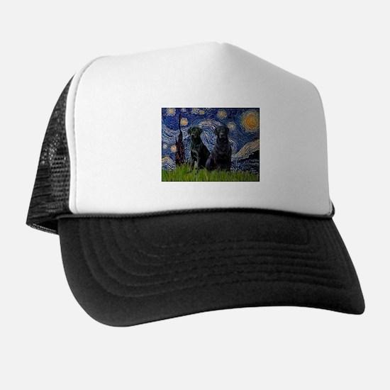 Starry Night / 2 Black Labs Trucker Hat