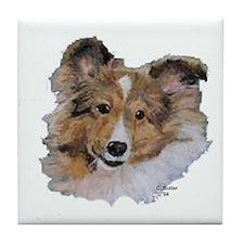 Sheltie (white background_)Tile Coaster