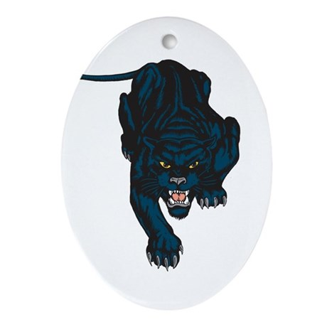 Sleek Panther Oval Ornament