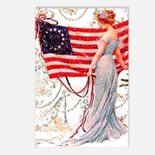 Gibson Girl and Flag Postcards (Package of 8)