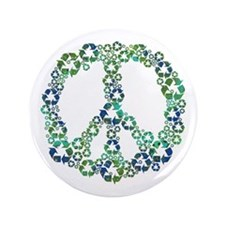 """Blue Recycle Peace 3.5"""" Button"""