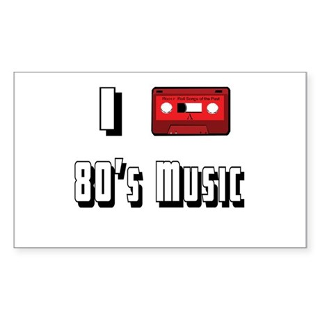 I love 80's Music Rectangle Sticker