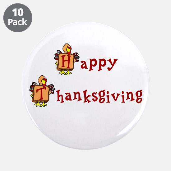 "Happy Thanksgiving 3.5"" Button (10 pack)"