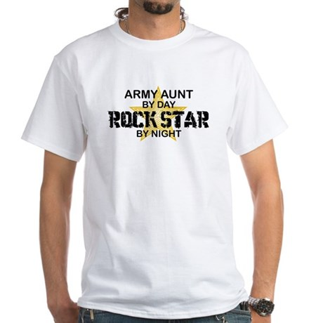 ARMY Aunt Rock Star by Night White T-Shirt