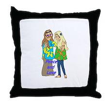 Peace & Love Hippies Throw Pillow