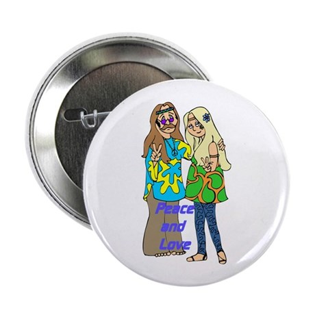 """Peace & Love Hippies 2.25"""" Button (10 pac"""