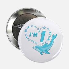 "Dolphin Heart First Birthday 2.25"" Button"