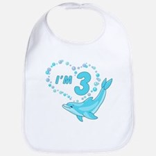 Dolphin Heart 3rd Birthday Bib