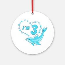 Dolphin Heart 3rd Birthday Ornament (Round)
