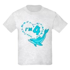 Dolphin Heart 4th Birthday T-Shirt