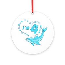 Dolphin Heart 4th Birthday Ornament (Round)