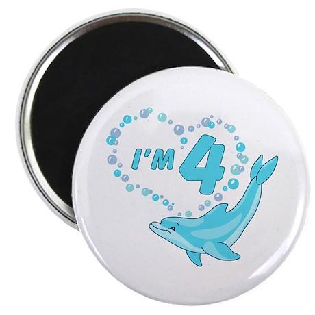Dolphin Heart 4th Birthday Magnet