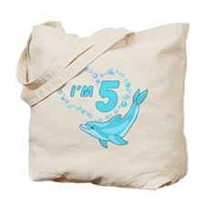 Dolphin Heart 5th Birthday Tote Bag