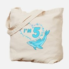 Dolphin Heart 5th Birthday Tote Bag