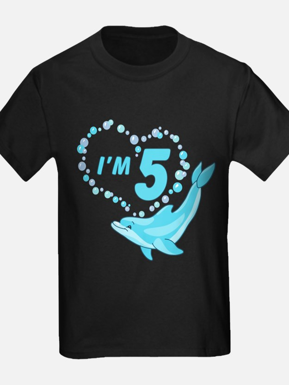Dolphin Heart 5th Birthday T
