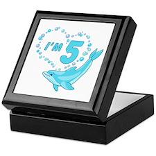 Dolphin Heart 5th Birthday Keepsake Box