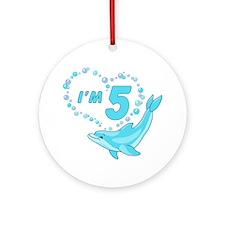 Dolphin Heart 5th Birthday Ornament (Round)