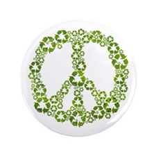 """Green Recycle Peace 3.5"""" Button"""