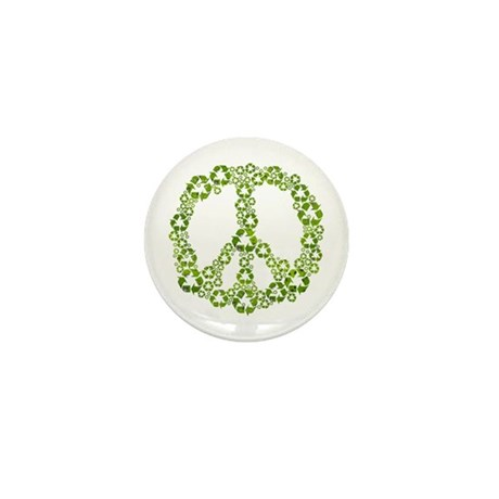 Green Recycle Peace Mini Button (10 pack)