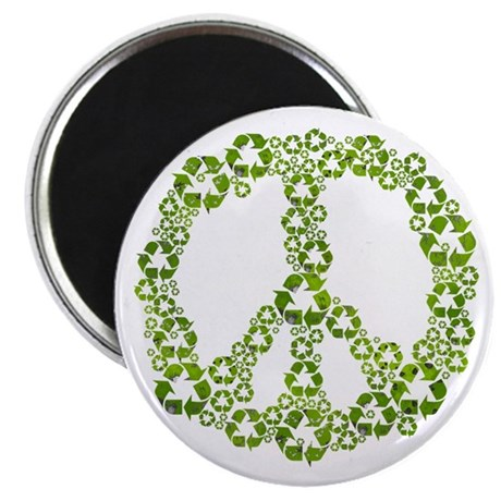 "Green Recycle Peace 2.25"" Magnet (10 pack)"
