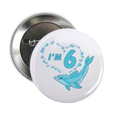 "Dolphin Heart 6th Birthday 2.25"" Button"