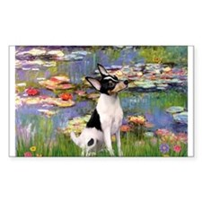 Lilies & Toy Fox Terier Rectangle Decal