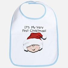 White Baby 1st Christmas Bib