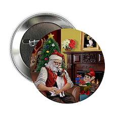 Santa & Toy Fox Terrier Button