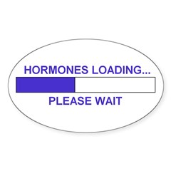 HORMONES LOADING... Oval Decal