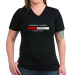 HORMONES LOADING... Women's V-Neck Dark T-Shirt