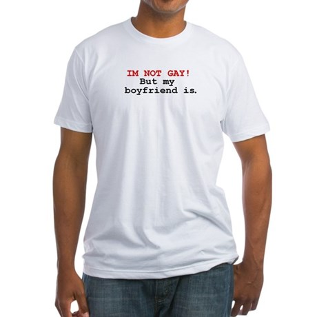 """im not gay! but my boyfriend is"" t-shirt (white)"