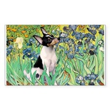 Irises & Toy Fox Terrier Rectangle Decal