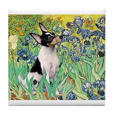 Irises & Toy Fox Terrier Tile Coaster