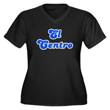 Retro El Centro (Blue) Women's Plus Size V-Neck Da