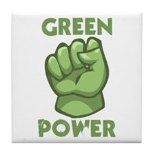 Green Power Tile Coaster
