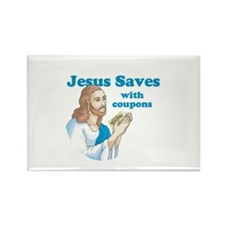 Jesus saves with coupons Rectangle Magnet