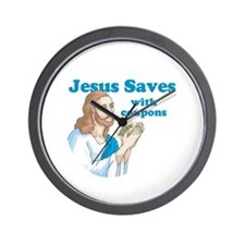 Jesus saves with coupons Wall Clock