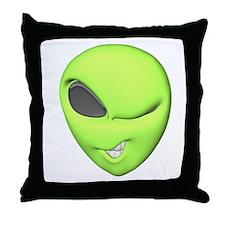 Green Alien Throw Pillow