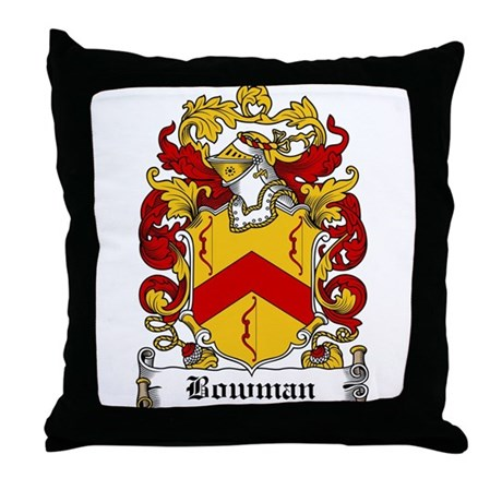 Bowman Family Crest Throw Pillow