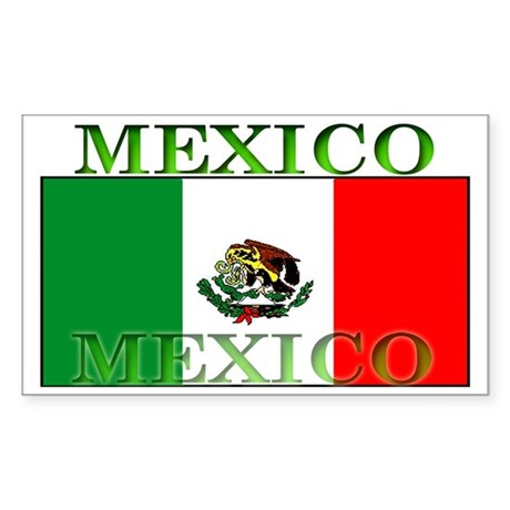 Mexico Mexican Flag Rectangle Sticker