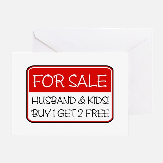 4SALE HUSB/KIDS (red) Greeting Card