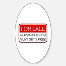 4SALE HUSB/KIDS (red) Oval Decal
