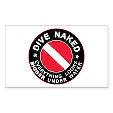 Dive Naked Bigger Under Water Rectangle Sticker 5