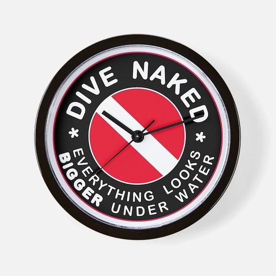 Dive Naked Bigger Under Water Wall Clock