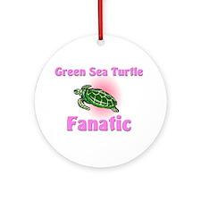 Green Sea Turtle Fanatic Ornament (Round)