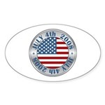 4th of July Souvenir Flag Oval Sticker (10 pk)